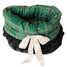 Reversible Snuggle Bugs Pet Bed, Bag, and Car Seat - Green Plaid