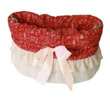 Reversible Snuggle Bugs Pet Bed, Bag, and Car Seat - Red Holiday Whimsy