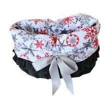 Reversible Snuggle Bugs Pet Bed, Bag, and Car Seat - Red Snowflake