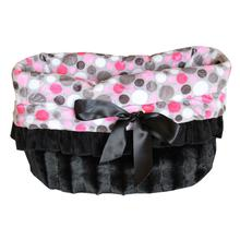 Reversible Snuggle Bugs Pet Bed, Bag, and Car Seat - Pink Party Dots