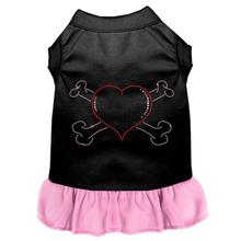 Rhinestone Heart and Crossbones Dog Dress - Black with Light Pink
