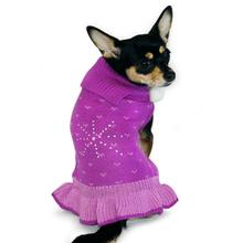 Rhinestone Snowflake Dog Sweater Dress by Dogo - Purple