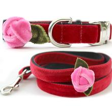 Rosebud Red Velvet Small Dog Collar and Leash Set by Diva Dog