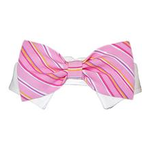 Ryan Dog Shirt Collar and Bow Tie - Pink Striped