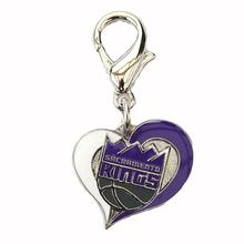 Sacramento Kings Swirl Heart Dog Collar Charm