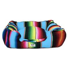 Saltillo Serape Bumper Dog Bed by Salvage Maria - Light Blue