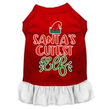 Santa's Cutest Elf Dog Dress - Red and White