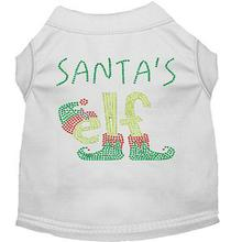Santa's Elf Rhinestone Dog Shirt - White