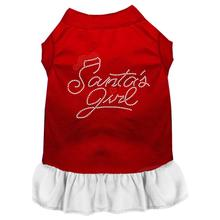 Santa's Girl Rhinestone Dog Dress - Red and White