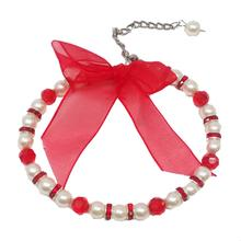 Satin Bow Pearl Dog Necklace - Red