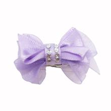 Satin Gem Dog Hair Bow with Alligator Clips - Lilac
