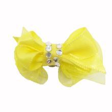 Satin Gem Dog Hair Bow with Alligator Clips - Yellow