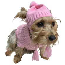 Scottish Cable Knit Dog Sweater Set with Matching Hat- Pink
