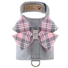 Scotty Bailey Dog Harness with Nouveau Bow by Susan Lanci - Platinum with Puppy Pink Plaid