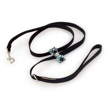 Scotty Big Bow Dog Leash by Susan Lanci - Black with Tiffi Plaid
