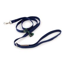 Scotty Bow Tie Dog Leash by Susan Lanci - Navy with Forest Plaid