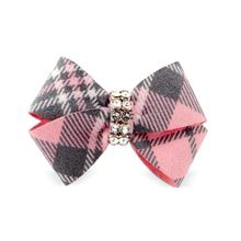 Scotty Nouveau Bow Dog Hair Bow by Susan Lanci - Puppy Pink Plaid
