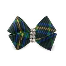 Scotty Nouveau Bow Dog Hair Bow by Susan Lanci - Forest Plaid