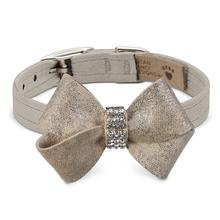 Champagne Glizerati Nouveau Bow Luxury Dog Collar by Susan Lanci - Doe