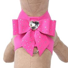 Stardust Tail Bow Heart Tinkie Dog Harness by Susan Lanci - Sapphire Pink