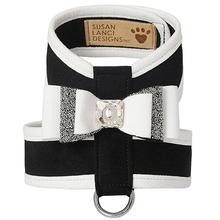 Ultrasuede Crystal Stellar Really Big Bow Tinkie Dog Harness by Susan Lanci - Black with White Trim