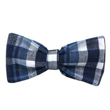 Seersucker Plaid Cotton Dog Bow Tie from Daisy and Lucy - Navy Blue