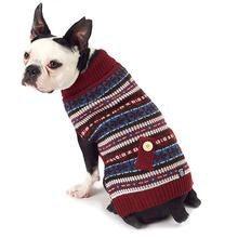 Shadow's Fair Isle Dog Sweater - Cranberry and Gray