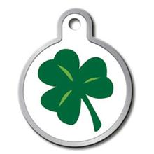 Shamrock Engravable Pet I.D. Tag - Large Circle with a Raised Edge