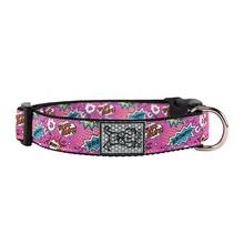 Pink Comic Sounds Adjustable Clip Dog Collar By RC Pet