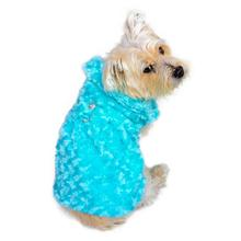Shop Til You Drop Rosebud Faux Fur Dog Coat - Seafoam