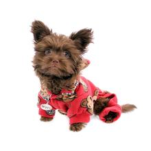 Silly Monkey Fleece Hooded Dog Pajamas by Klippo - Burgundy
