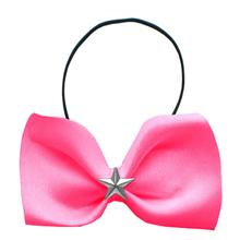 Silver Star Widget Dog Bow Tie - Bright Pink