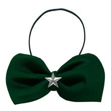 Silver Star Widget Dog Bow Tie - Green