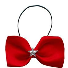 Mirage Silver Star Widget Dog Bow Tie - Red