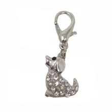 Sitting Dog D-Ring Pet Collar Charm by foufou Dog - Clear