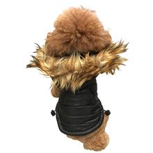 Ski Bunny Puffer Dog Coat with Detachable Hood - Shiny Black
