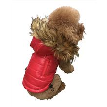 Ski Bunny Puffer Dog Coat with Detachable Hood - Shiny Red