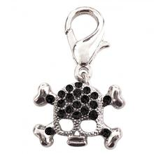 Skull D-Ring Pet Collar Charm by foufou Dog - Black