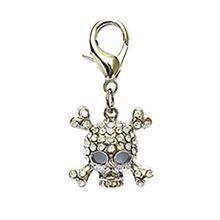 Skull D-Ring Pet Collar Charm by FouFou Dog - Clear