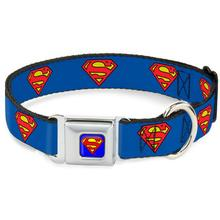 Superman Shield Seatbelt Buckle Dog Collar by Buckle-Down - Blue