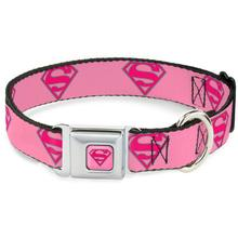 Superman Shield Seatbelt Buckle Dog Collar by Buckle-Down - Pink