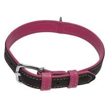 Soft Leather Dual Color Dog Collar - Hot Pink
