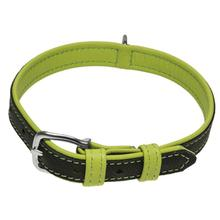 Soft Leather Dual Color Dog Collar - Lime Green