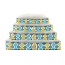 Soft N' Tuff Rectangular Pet Crate Bed by Doggie Design - Blue, Gray, Yellow Diamond