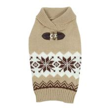 Sophisticated Snowflake Dog Sweater - Tan