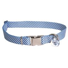 Southern Dawg Seersucker Dog Collar by Yellow Dog - Navy Blue