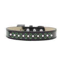 Sprinkles Ice Cream Dog Collar - Pearl and Green Crystals on Black