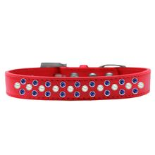 Sprinkles Pearl and Blue Crystals Dog Collar - Red
