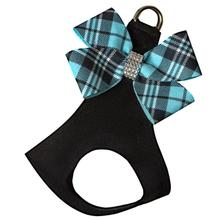 Scotty Nouveau Bow Step-In Dog Harness by Susan Lanci - Black with Tiffi Blue Plaid