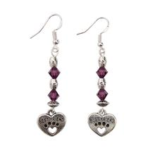 Sterling Best Friend Paw Earrings - Purple Swarovski Crystals